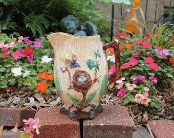 Antique Majolica Bird Nest Pitcher, Water Pitcher, Flower Vase