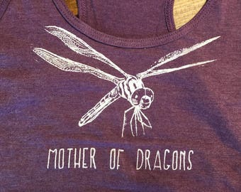 MOTHER OF DRAGONS - Heather Purple Racerback Tank Top - Game Thrones - Funny - Dragonfly Nature