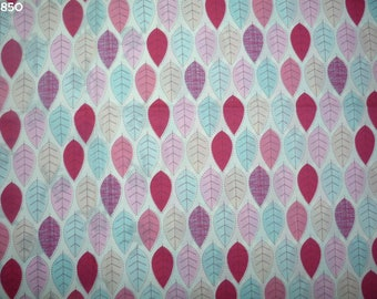 Fabric C850 leaves pink/blue/beige coupon 35x50cm