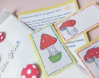 A bag of luck, in fly mushroom design