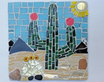 cactus mosaic tile