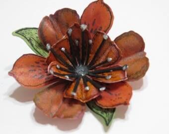 Lg Lily Flower-Burnt Orange Shimmer 1pk