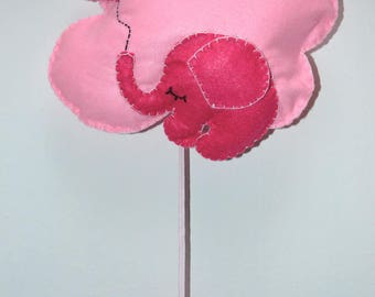 Stitchable or decorative shaped cloud with pink elephant