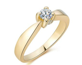 Diamond Engagement Ring, Brillant cut Engagement Ring, 18K Yellow Gold Engagement Ring