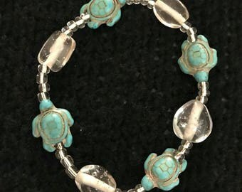 Natural Turquoise stone turtle bracelet elastic cord