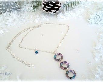 Cosmic Ring Swarovski Elements - asymmetrical necklace Triple chain necklace pendant silver mesh chain Singapore