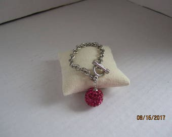 Silver link chain Bracelet with Pave Bead