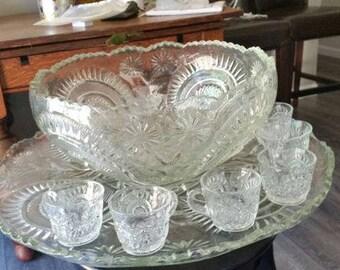 Vintage Cut Glass punch bowl/platter set