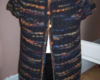 Vest - bolero - knit form - black multico.