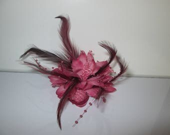 Brooch pink flower, Hairpin, elastic, ceremony, wedding, flowers, pearls, feathers,