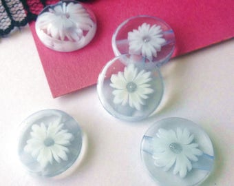 BUTTONS 4 inlay round light blue resin 16 mm sewing scrapbooking knit layette CB5 flower)