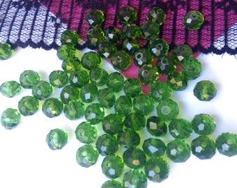 8 x 5 Pine Green RONDELLE beads 6 mm SWAROVSKI Crystal pearls (P23)