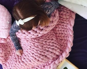 Handmade 100% Merino Children Chunky Blanket