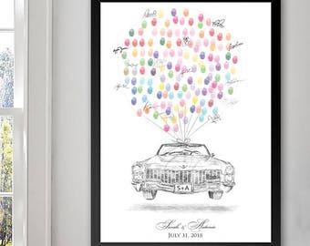 Vintage Cadillac Thumbprint Guestbook Print, Fingerprint Guest Book, Wedding, Bridal Shower, Family Reunion, Alternative (8 x 10- 24 x 36)