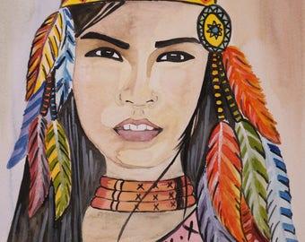 Native American Woman Original watercolor painting