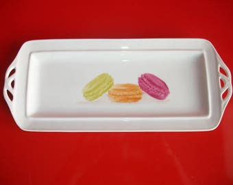 """Limoges porcelain tray decorated with """"Macaroons"""""""