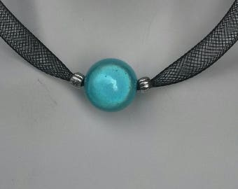 Mesh black Bead Necklace magical Turquoise
