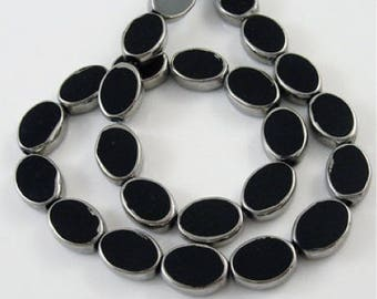 Set of 10 glass beads, black & silver, 11 x 8 mm, 4 mm, hole 1 mm thick