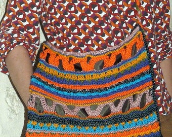 handmade multicolored cotton crocheted shoulder bag