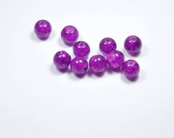 PE372 - Set of 10 cracked glass beads purple 10mm