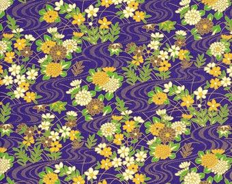 Japanese paper 42 x 29 cm Chiyogami purple, white, green, yellow flower pattern