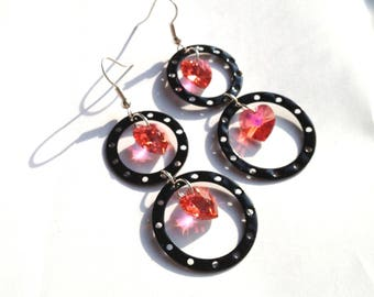 EARRINGS HEART PADPARADSCAH AND BLACK
