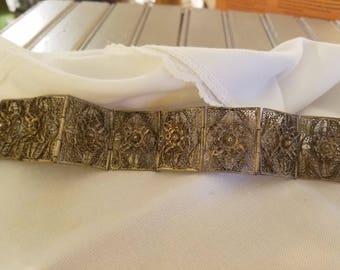 Antique Silver Filagree Bracelet