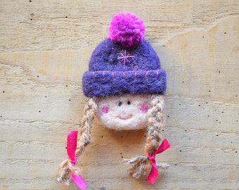 """Woolen brooch """"timid little purple CAP and fuschia"""""""
