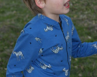 Jumpsuit for kids boy / girl unisex zebra print, jersey elastic fabric, minimalist style
