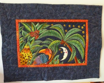 Quilted Wall Hanging - Jungle Night Laurel Burch
