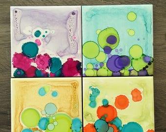 Bubble dots tile coasters