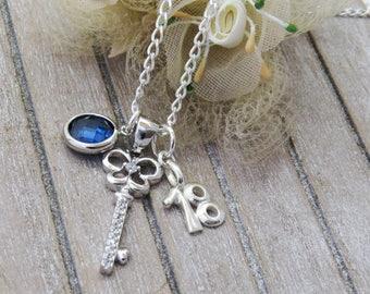 18th Birthday Necklace With Key, 18 Birthday Gift, 18 Gift, Key Necklace, 925 Sterling Silver Birthstone key necklace, Birthstone Jewelry