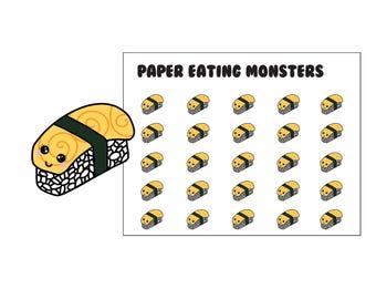 Tamago Egg Nigiri Sushi // Kawaii Paper Eating Monsters // Planner Stickers