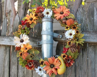 Autumn Flower Wreath | Fall Wreath | Flower Wreath | Door Hanger | Fall Decor | Whimsical Decor | Wall Decor | Fall Home Decor | Door Decor