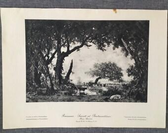 Rousseau. Sunset at Fontainebleau. 1920's antique print