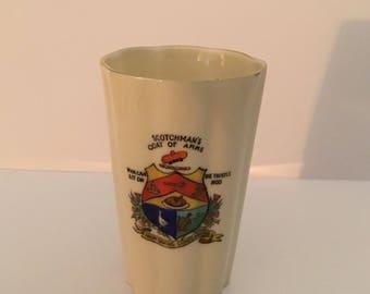 Scotchmans coat of arms. Arcadian Crested China vase, beaker. Stoke on Trent.