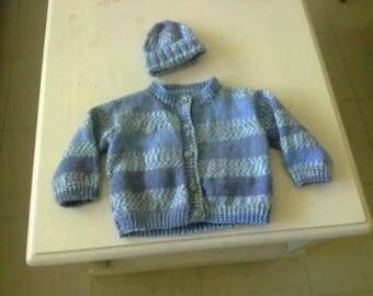 blue vest and hat set size 6 months