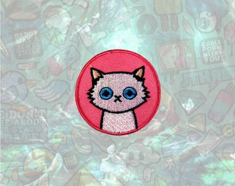 White Cute Cat patch Cartoon Animal Patch Iron on Patch Sew On Patches