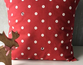 "A Fun 'Spotty Spot' 16"" x 16"" Cushion Case in 'Oily Rag' fabric 100% Cotton"