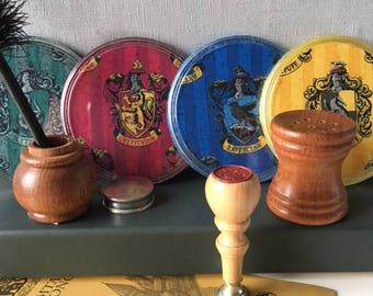 Harry Potter Hogwarts set of Four Coasters in House Colours