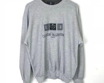 Rare!!! Claudio Valentino Sweatshirt Pullover Spellout Big Logo Embroidery Multicolors