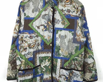 Rare!!! Vintage!!! Salvatore Ferragamo Jacket / Light Jacket Spellout Full Print Full Buttons Double Pockets Multicolors