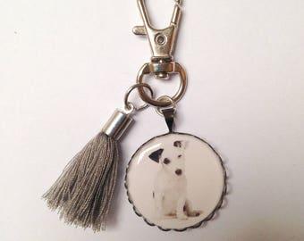 Keychain cabochon resin epoxy dog charm