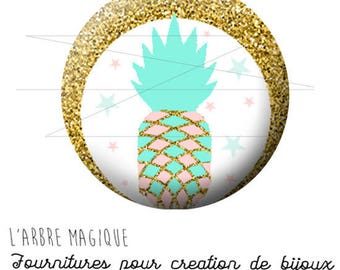 Cabochon fancy 25 mm pineapple pink blue gold ref 1543