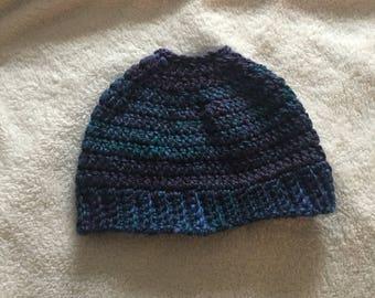 Crochet bun beanie/READY TO SHIP