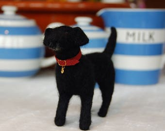 Needle felted black labrador dog, handmade by TheHeartfeltHound