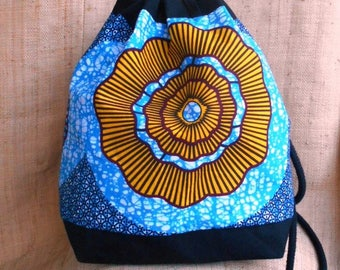 Backpack in wax, ethnic African fabric bag, bucket bag, Bohemian, backpack or shoulder, blue wax