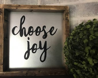 choose joy sign, metal sign, farmhouse sign, farmhouse decor, metal decor, framrd metal decor, framed metal sign, framed sign, choose joy