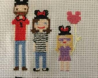 3 Figure Custom Cross Stitch
