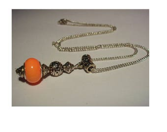 Vintage necklace, 925 sterling silver, orange bead